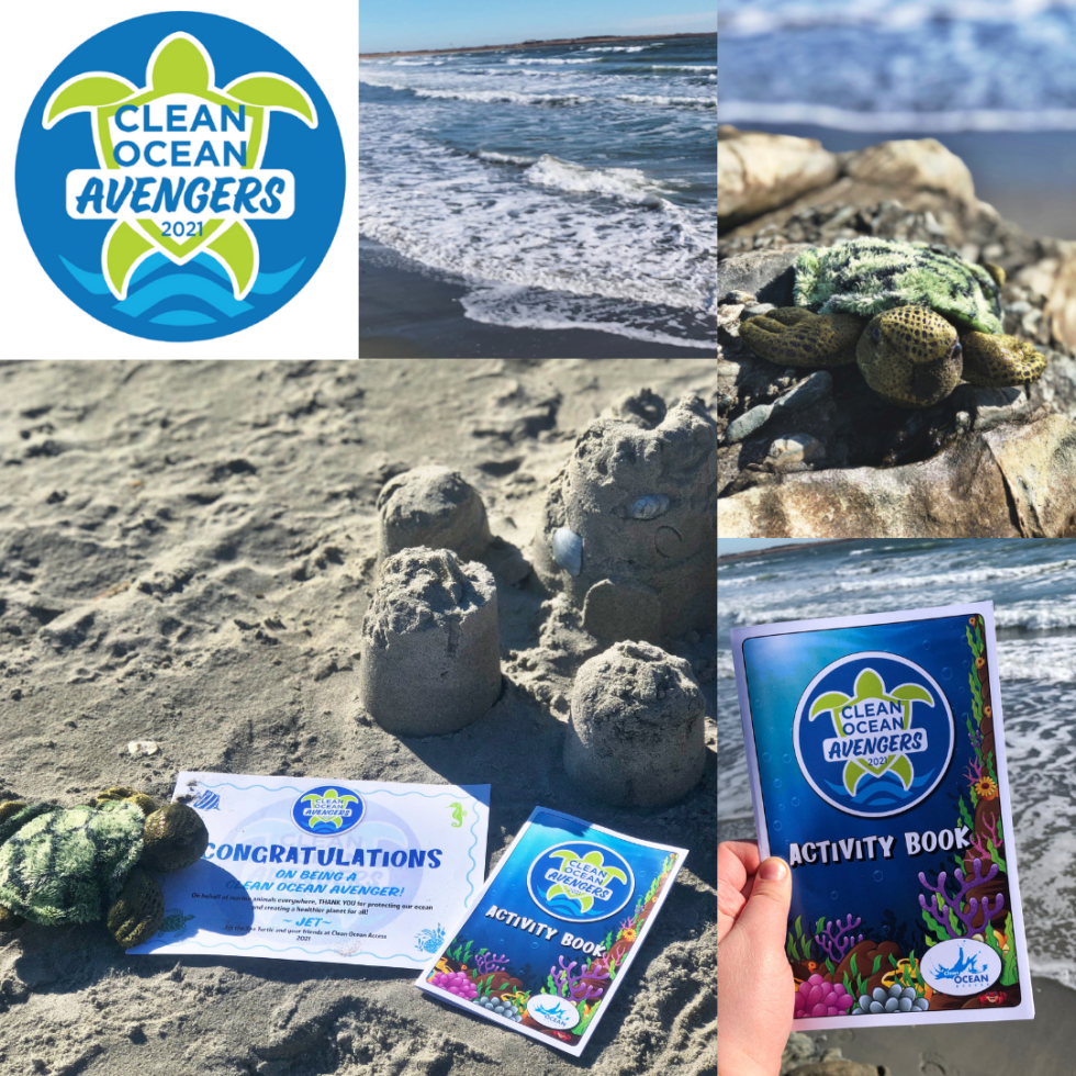 Collage of Clean Ocean Avenger kit contents, which include a plush turtle, an activity booklet, a sticker, and a certificate.