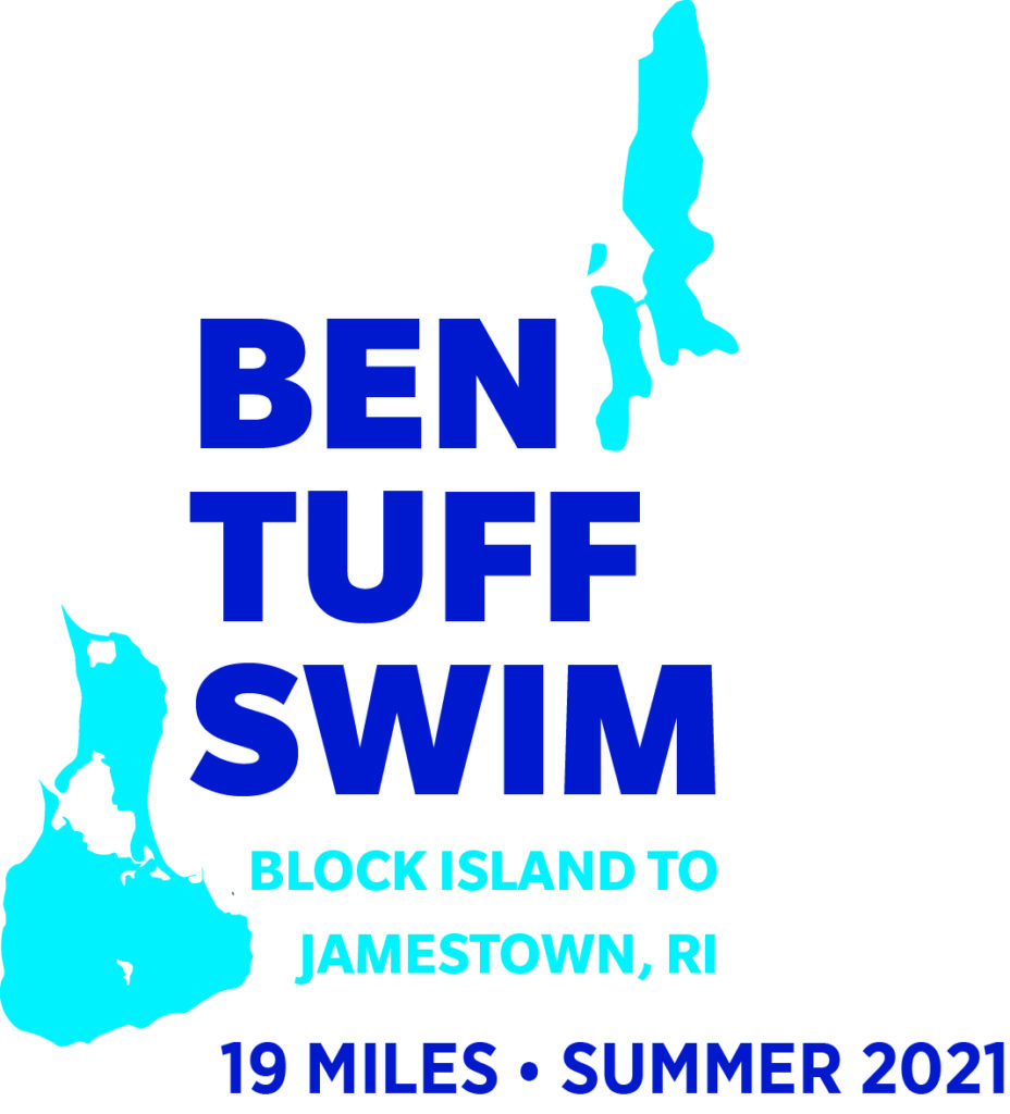 Ben Tuff Swim 2021 Logo featuring Block Island and Conanicut Island