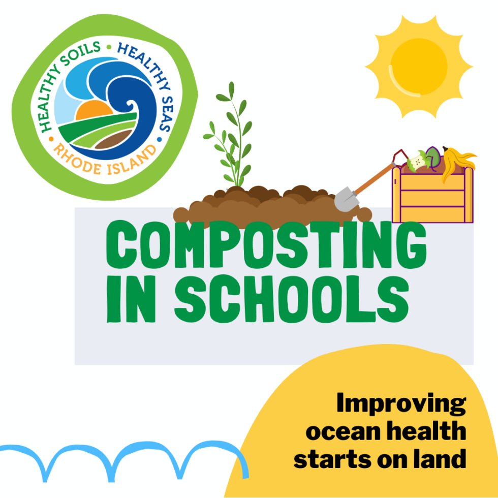 "Graphic with HSHSRI logo reads ""Composting in Schools"" and shows a cartoon garden"